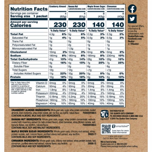 Quaker Protein Select Starts Instant Oatmeal Variety Pack 24 Count Perspective: right