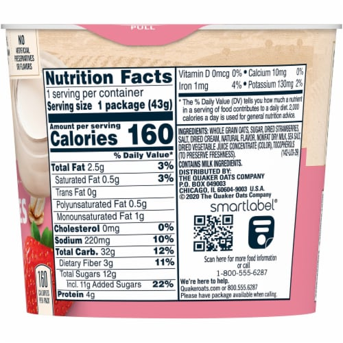 Quaker Strawberry and Cream Instant Oatmeal Breakfast Cup Perspective: right