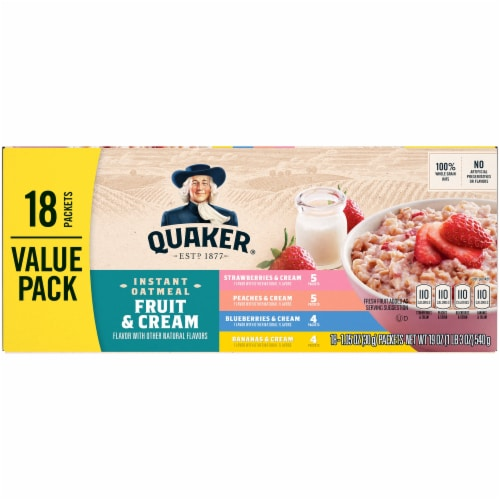 Quaker Fruit and Cream Instant Oatmeal Value Variety Pack Perspective: right