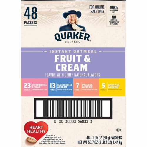 Quaker Fruit & Cream Instant Oatmeal Variety Pack 48 Count Perspective: right