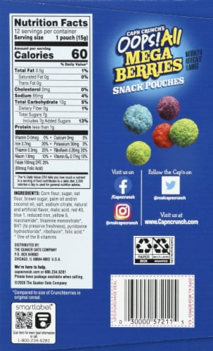 Cap'N Crunch's Oops All Mega Berries Sweetened Corn & Oat Snack Pouches Perspective: right