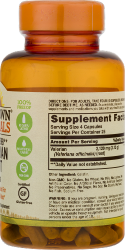Sundown Naturals Whole Herb Valerian Root Capsules 530mg Perspective: right