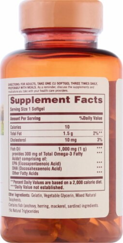 Sundown Naturals Fish Oil Omega-3 Softgels Perspective: right