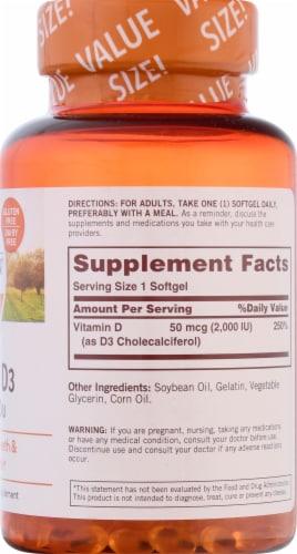 Sundown Naturals Vitamin D3 2000 IU Softgels Perspective: right