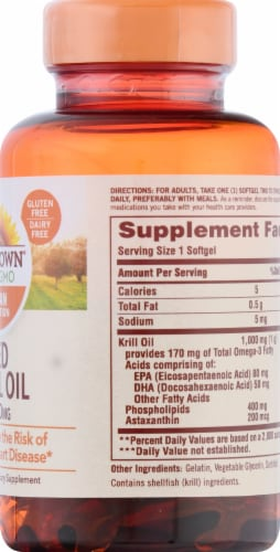 Sundown Naturals Red Krill Oil Softgels 1000mg Perspective: right