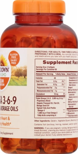 Sundown Naturals Triple Omega 3-6-9 Softgels Perspective: right