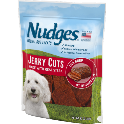 Nudges Jerky Cuts Natural Beef Dog Treats Perspective: right