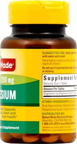 Nature Made Magnesium Tablets 250mg 100 Count Perspective: right