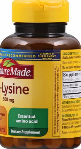 Nature Made L-Lysine Tablets 500mg 100 Count Perspective: right