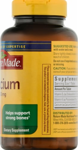 Nature Made Calcium 750 mg+D+K Tablets Perspective: right