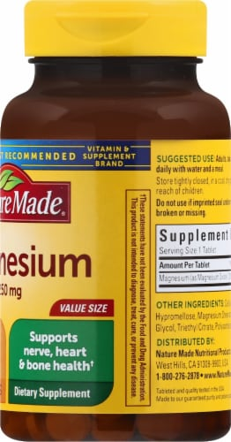Nature Made Magnesium Tablets 250mg 200 Count Perspective: right