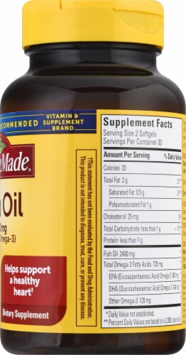 Nature Made Fish Oil Omega-3 Softgels 1200mg 60 Count Perspective: right