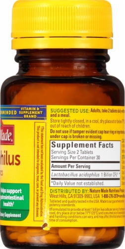 Nature Made® Acidophilus Probiotics Tablets Perspective: right