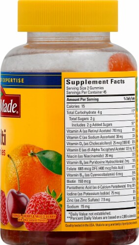 Nature Made Multivitamin Orange Cherry & Mixed Berry Flavored Adult Gummies Perspective: right