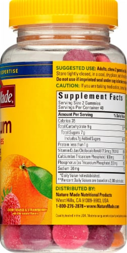 Nature Made Cherry Orange & Strawberry Calcium Adult Gummies 500mg 80 Count Perspective: right