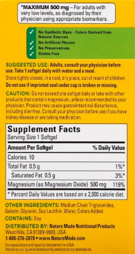 Nature Made Maximum Strength Magnesium Softgels 500mg 60 Count Perspective: right