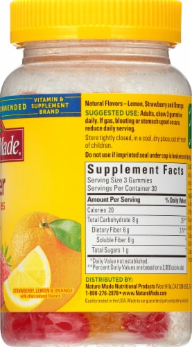 Nature Made Assorted Fruit Flavored Fiber Adult Gummies 6g Perspective: right