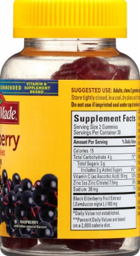 Nature Made Elderberry Raspberry Flavored Dietary Supplement Gummies 100mg Perspective: right