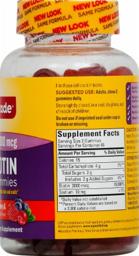 Nature Made Biotin Mixed Berry Cranberry & Blueberry Dietary Supplement Gummies 3000 mcg Perspective: right