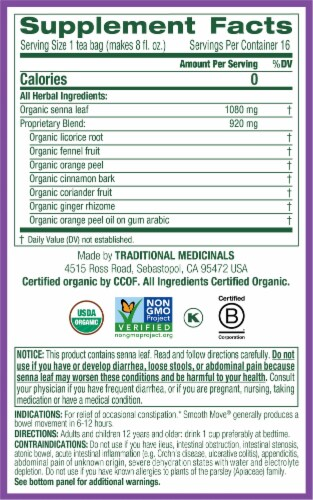 Traditional Medicinals Organic Smooth Move Herbal Tea Bags Perspective: right