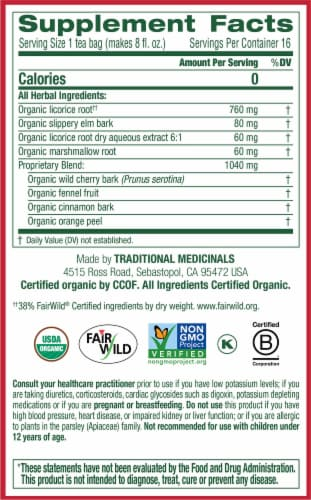 Traditional Medicinals Organic Throat Coat Tea Bags Perspective: right