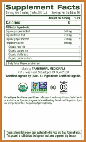 Traditional Medicinals Belly Comfort Peppermint Herbal Tea Bags Perspective: right