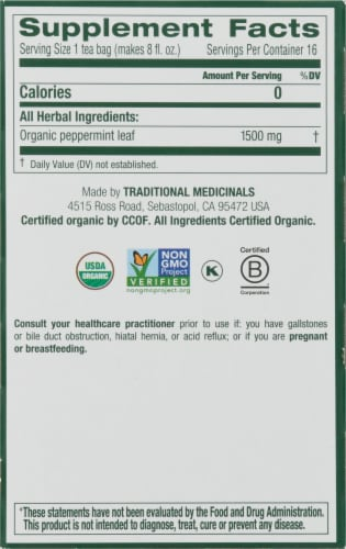 Traditional Medicinals Organic Peppermint Tea Bags Perspective: right
