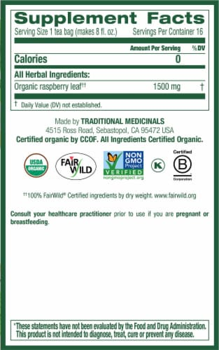 Traditional Medicinals Organic Raspberry Leaf Tea Bags Perspective: right