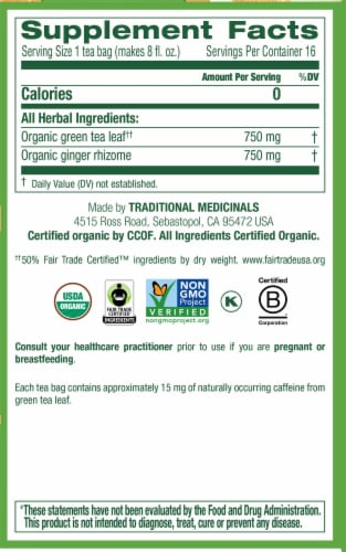 Traditional Medicinals Organic Green Tea with Ginger Perspective: right