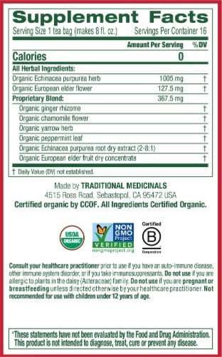 Traditional Medicinals Organic Echinacea Plus Elderberry Tea Bags Perspective: right