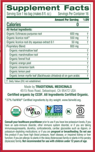 Traditional Medicinals Organic Throat Coat Lemon Echinacea Tea Bags Perspective: right