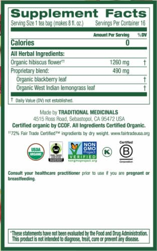 Traditional Medicinals Organic Hibiscus Tea Bags Perspective: right