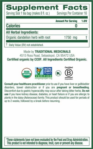 Traditional Medicinals Organic Dandelion Leaf & Root Tea Bags 16 Count Perspective: right