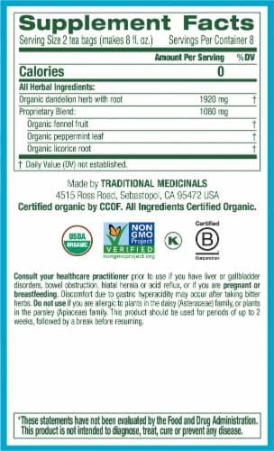 Traditional Medicinals Organic EveryDay Detox Dandelion Herbal Tea Bags Perspective: right
