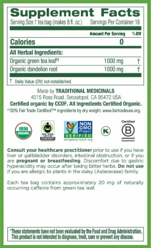 Traditional Medicinals Organic Green Tea Dandelion Perspective: right