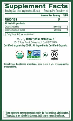 Traditional Medicinals Organic Rose Hips With Hibiscus Tea Bags 16 Count Perspective: right