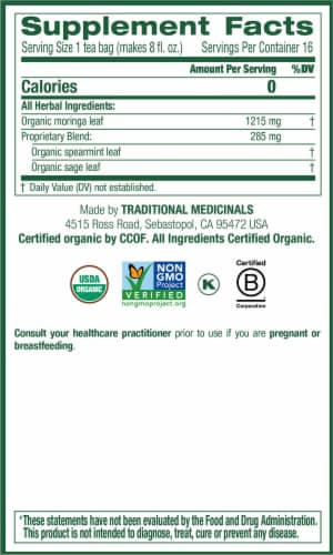 Traditional Medicinals Organic Moringa With Spearmint and Sage Tea Bags 16 Count Perspective: right