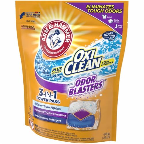 Arm & Hammer Plus Oxi Clean Fresh Burst 5-in-1 Laundry Detergent Paks Perspective: right