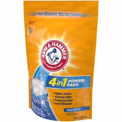 Arm & Hammer 4-in-1 Clean Burst Scent Concentrated Laundry Detergent Power Paks Perspective: right
