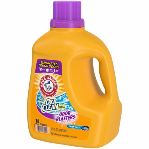 Arm & Hammer Plus OxiClean Stain Fighter with Odor Blasters Fresh Burst Laundry Detergent Perspective: right