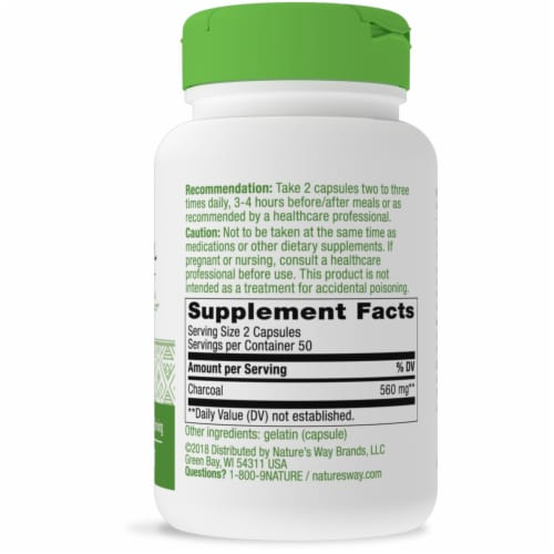 Nature's Way Activated Charcoal Capsules Perspective: right