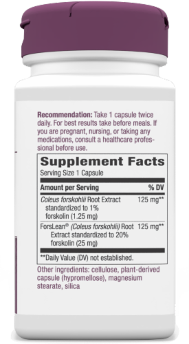 Nature's Way Forskohlii Dietary Supplement Vegan Capsules 125mg Perspective: right