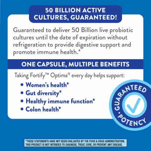 Nature's Way Fortify Optima Women's 50 Billion Probiotic Supplement Vegetarian Capsules Perspective: right