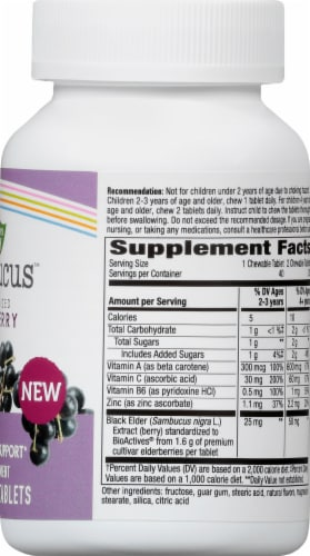 Nature's Way Sambucus Standardized Elderberry Daily Immune Support Chewable Tablets for Kids Perspective: right