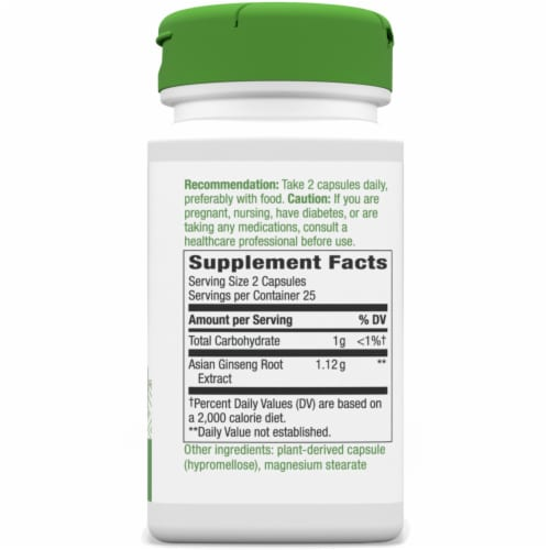Nature's Way Korean Ginseng Root Capsules 510mg Perspective: right