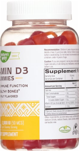 Nature's Way Mixed Fruit Flavored Vitamin D3 Gummies 2000IU Perspective: right