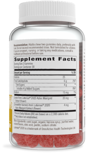 Nature's Way Mango Lutein Gummy Dietary Supplement Perspective: right