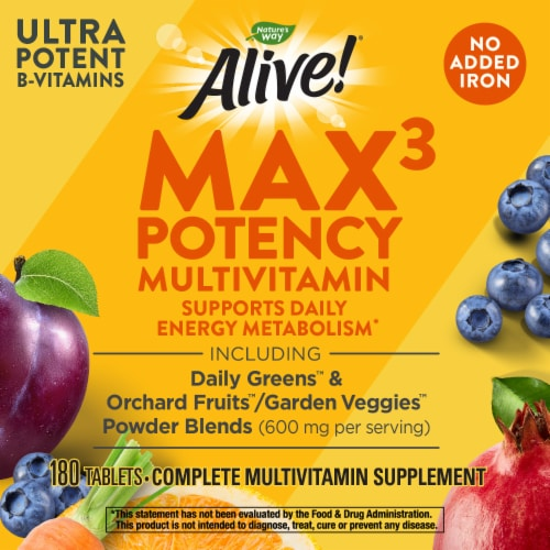 Nature's Way Alive! Iron-Free Multivitamin Max Potency Tablets Perspective: right