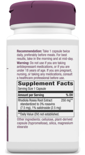 Nature's Way Rhodiola Rosea Standardized Vcaps 250mg Perspective: right