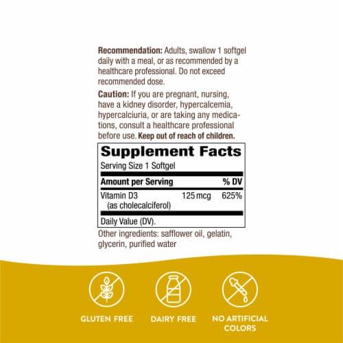 Nature's Way Vitamin D3 Max Bone and Immunity Supplement Softgels 125mcg Perspective: right